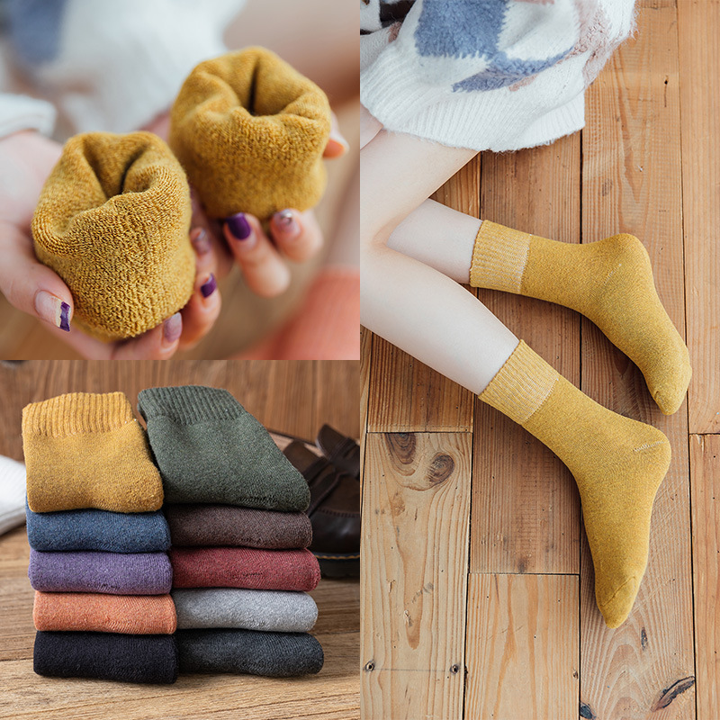 New Fashion 70% Cotton Ladies Socks Autumn And Winter Thick Warm Sweat-absorbent Terry Middle Tube Women's Socks 10Colors