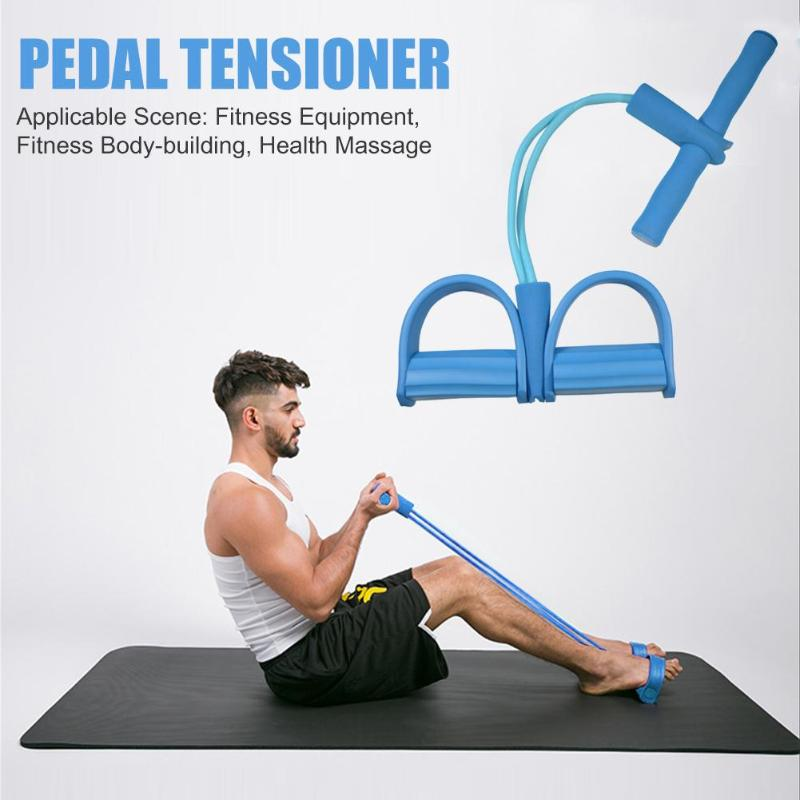 Hot Sale Foot Pedal Pull Rope Wear-resistant 2 Tube Resistance Band Foot Pedal Exerciser Sit-up Pull Rope Yoga Equipment