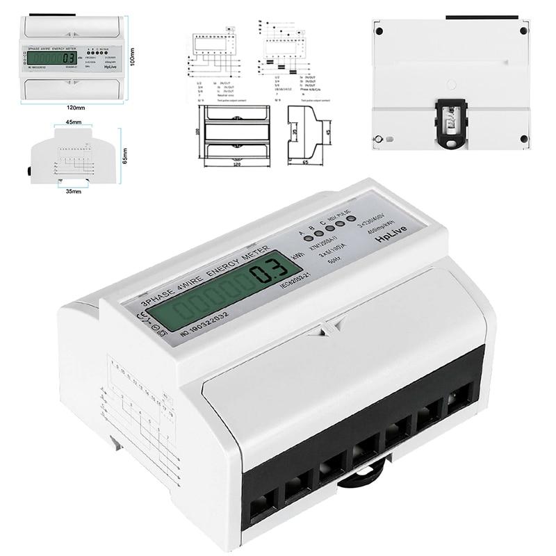 3 фазы 4 провода электрический ЖК цифровой счетчик энергии для din-рейки измеритель мощности ватт Потребляемая мощность ваттметр 100*120*65 мм