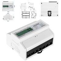Medidor bonde da energia de digitas do lcd de 3 fases 4 fios para o wattmeter 100*120*65mm do consumo de energia do watt do medidor de energia do trilho do ruído