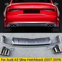 For Audi A5 S5 2017 2018 2019 High Quality PU Rear Spoiler Diffuser Bumper Guard Protector Skid Plate Bumper Cover