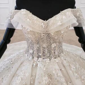 Image 4 - HTL1271 2020 della boemia abito da sposa al largo della spalla manica corta di applique fiore di paillettes donna abito da sposa abito da sposa nuovo