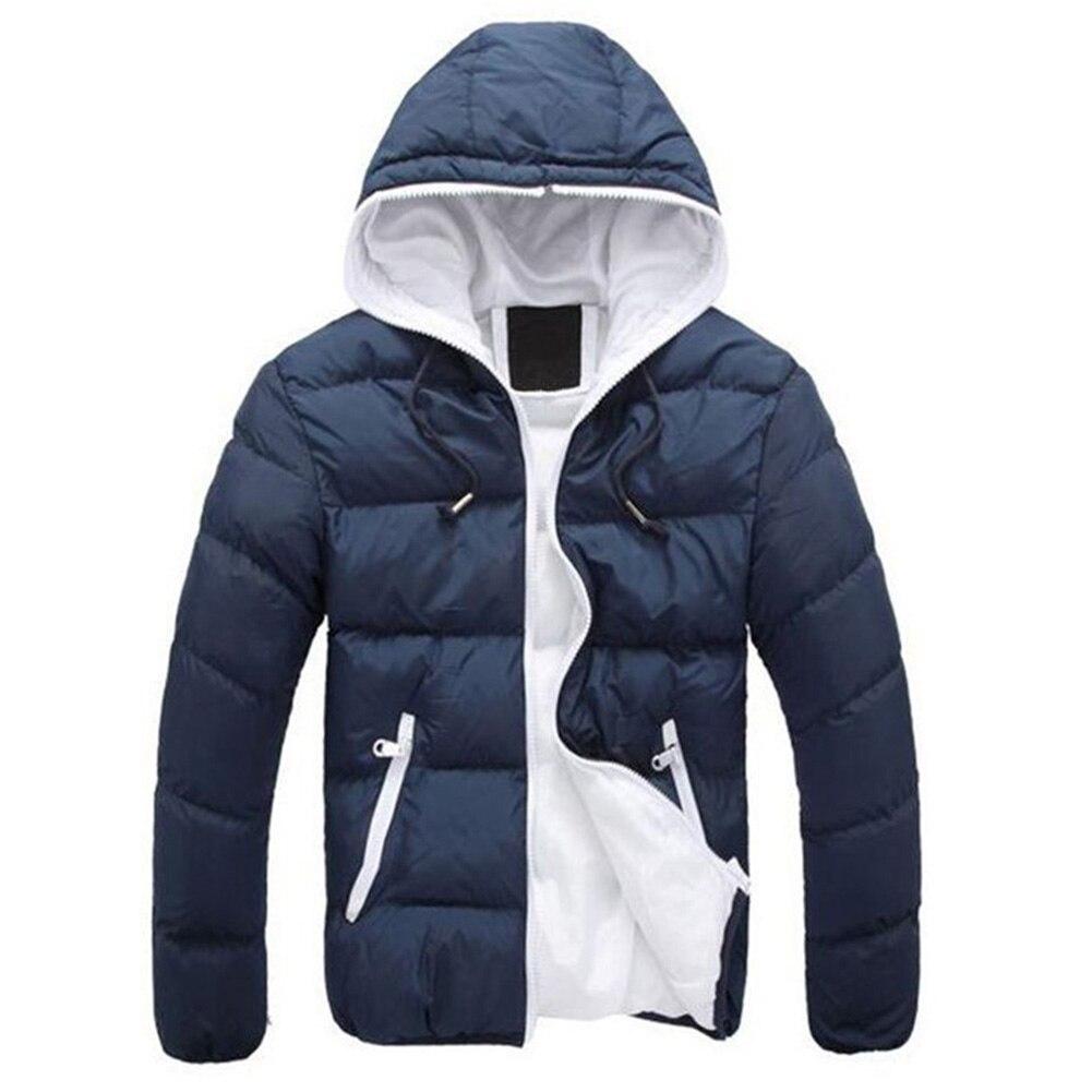 Зимняя мужская куртка 2019, модная мужская парка со стоячим капюшоном и воротником, мужские плотные куртки и пальто, мужские зимние парки M 4XL - 2