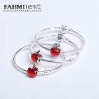 FAHMI 2017 Fashion Antique Silver Apple Charm Bracelets & Bangles For Women Handmade Enamel Crystal Beads Pulsera