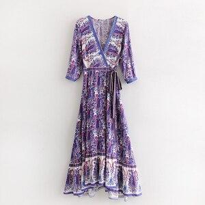 Женское пляжное платье TEELYNN, длинное пляжное платье с цветочным принтом и v-образным вырезом, богемное платье с запахом, лето 2019