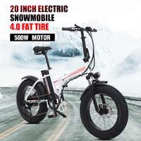 Ebike bicicleta eléctrica inteligente 48v batería de bicicleta eléctrica de 500w de la motocicleta ebike 20 pulgadas portátil de la montaña de nieve ebike