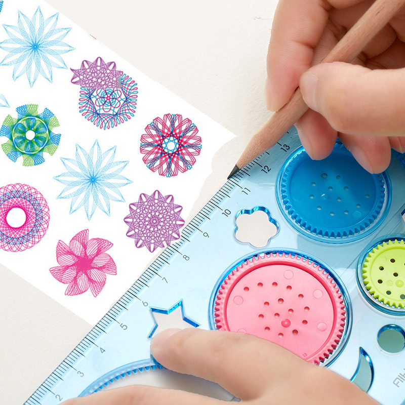 1 PC 20 CM Cute DIY Spirograph Ruler Kawaii Circle Puzzle Template Rulers For Kids Children Drawing Gift Creative Stationery Toy