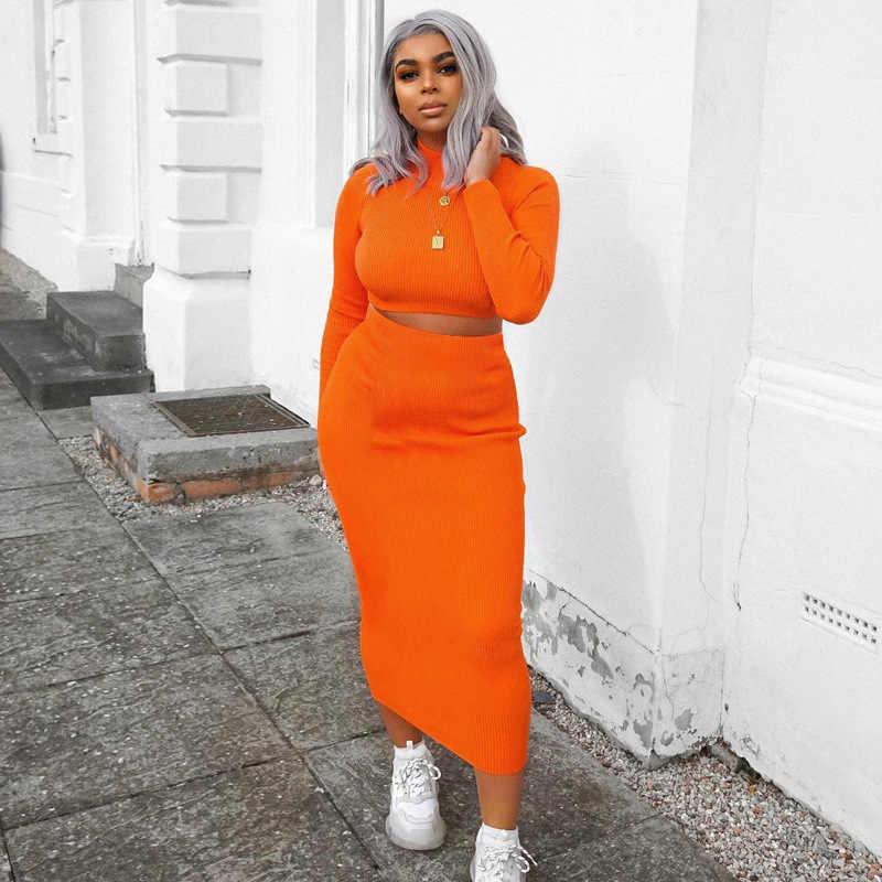 Toplook conjuntos de dos piezas mujeres 2019 de manga larga Crop Tops falda Otoño Invierno femenino conjunto Streetwear chándales Club trajes