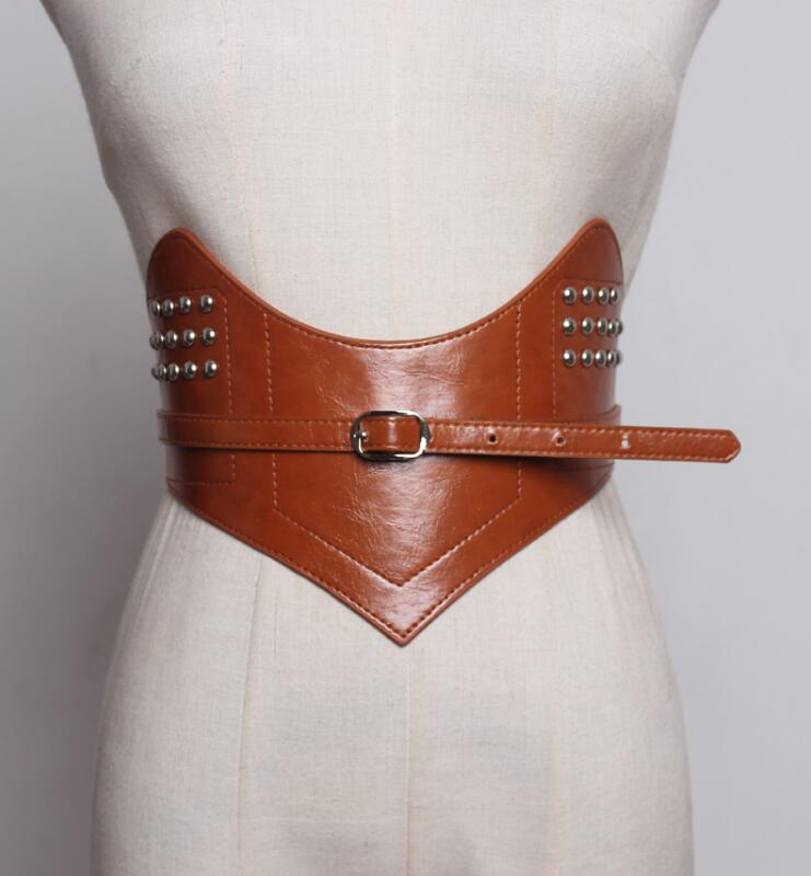 Women's Runway Fashion Rivet Pu Leather Elastic Cummerbunds Female Dress Coat Corsets Waistband Belts Decoration Wide Belt R1777
