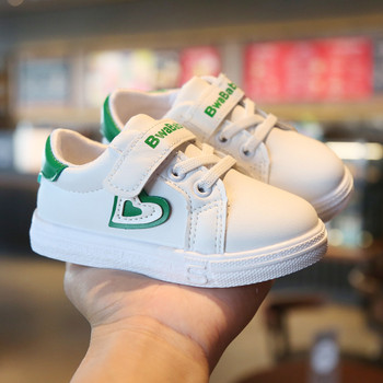 Kids Casual Shoes White Heart Print Girls Children Sneakers Baby Girls Sports Shoes Running Pu Leather Shoes Spring Autumn 2020 kids shoes spring girls pu leather sneaker boy flats children shoes waterproof boots kids girls sneakers for girls trainers 838d