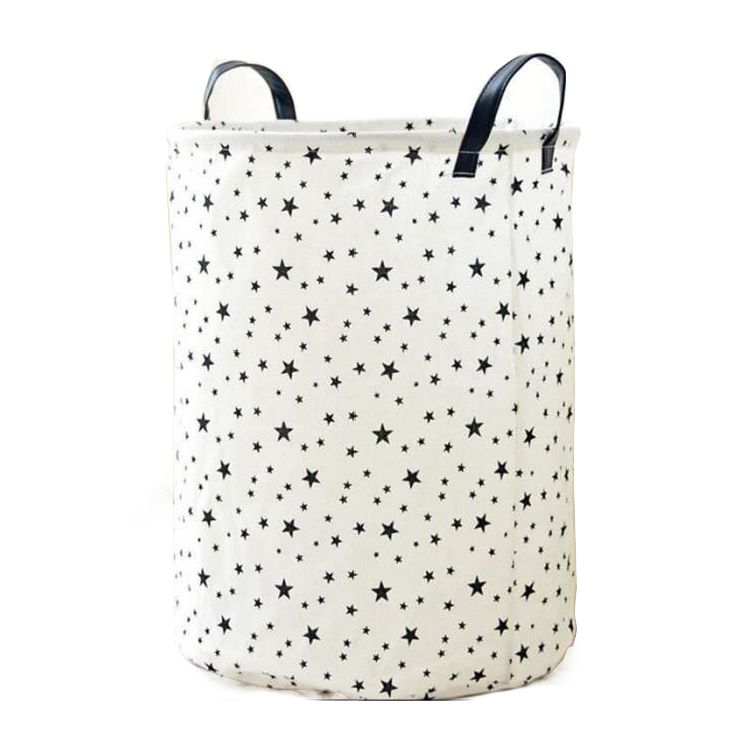 1 Piece Foldable Laundry Basket In Cotton And Linen For Kids Portable Durable Organizer Storage Basket Storage ( Star Pattern )