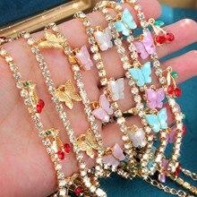 Caraquet urok wiśnia motyl krzyż naszyjnik kobiety kryształ w złotym kolorze tenis Choker łańcuszek naszyjnik biżuteria hurtowych