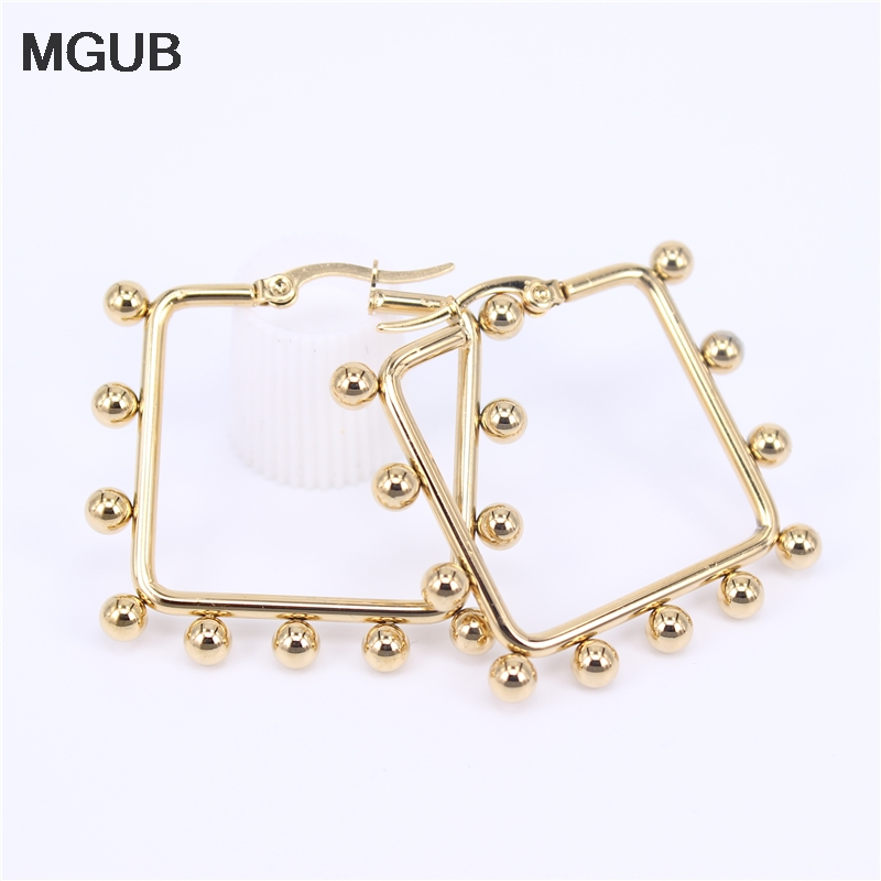 Square Hot Sale Stainless Steel Gold Color High Quality Hoop Earrings For Women Jewelry 2020 New DesignSL38