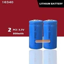 2 x recarregável cr123a 16340 800mah 3.7v bateria de íon de lítio