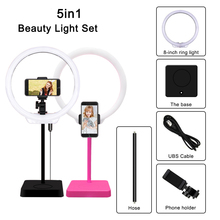 MAMEN Selfie LED Ring Light Studio Photography Dimmable Youtube Live video Photo Light Lamp Kit With Phone Holder Tripod Makeup samtian video light tl 600s 2sets led video photo studio light kit dimmable 600pcs led panel lamp with tripod for photographic
