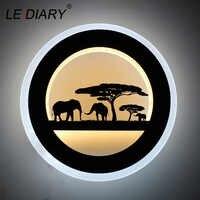 Lediary 14 w animal conduziu a parede redonda arandela 110-240 v moderno elefante preto pintura luzes de parede para sala de estar decoração luminárias
