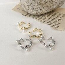 Fashion Silver Color Geometric Letter C Wave Circle Earcuff Clip Earrings No Piercing Women Minimali