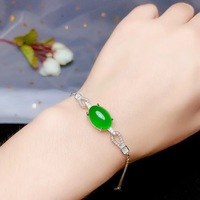 Natural green chalcedony bracelet, 925 silver precision design, luxury bracelet, party essential jewelry