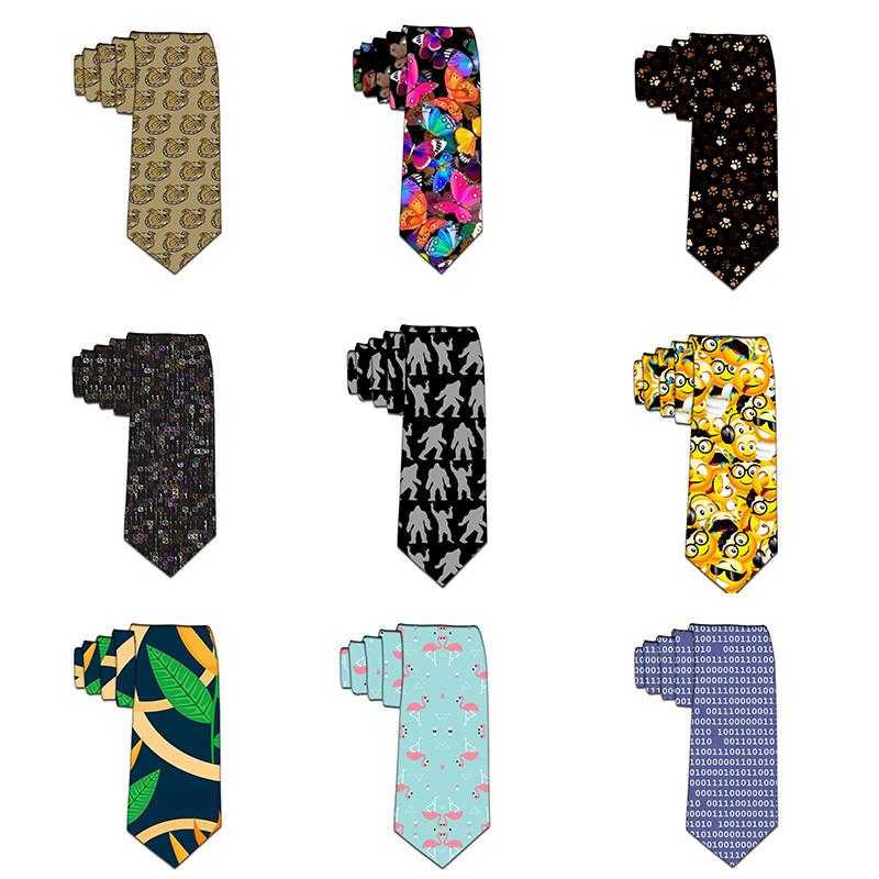 Funny Tie For Men 8cm Fashion Harajuku Printed Neckties Gravata Man's Wedding Gravatas Para Homens Shirt Accessories 6Z-LD49