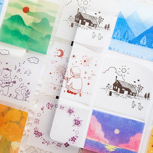 30 Pcs/set Translucent Sulfuric Acid Paper Color Memo Pad Cute Sticky Notes DIY Material Memo Sheet Decorative Paper Memo Sheet