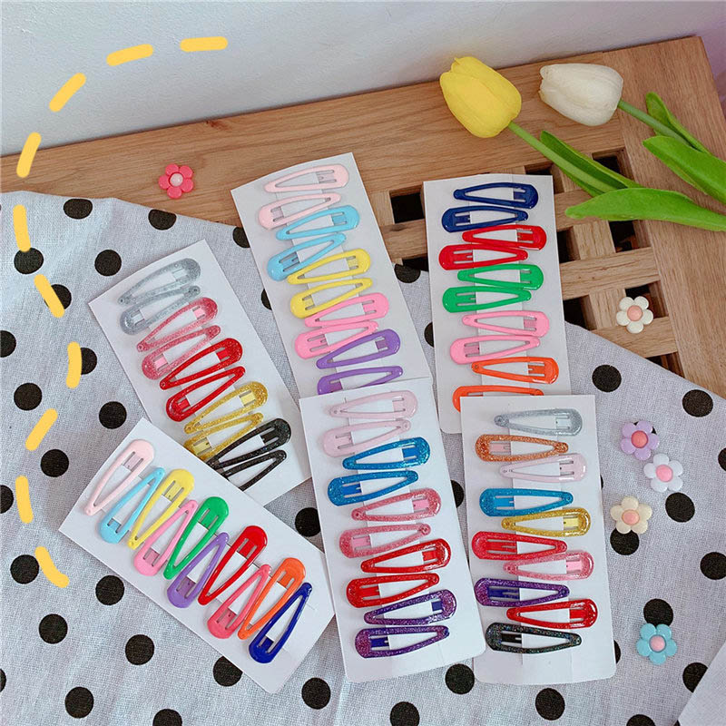10 PCS New Lovely Candy Color Hairpins Girly Pink Baby Girls Headwear Women Hair Accessories Hair Clips For Gift Barrettes