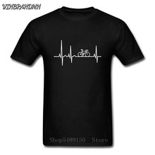 Cool Mountain Biker Electric Heartbeat camiseta hombres divertida bicicleta ciclismo regalo camiseta MTB Rider camiseta genuino BMX Lovers apparel