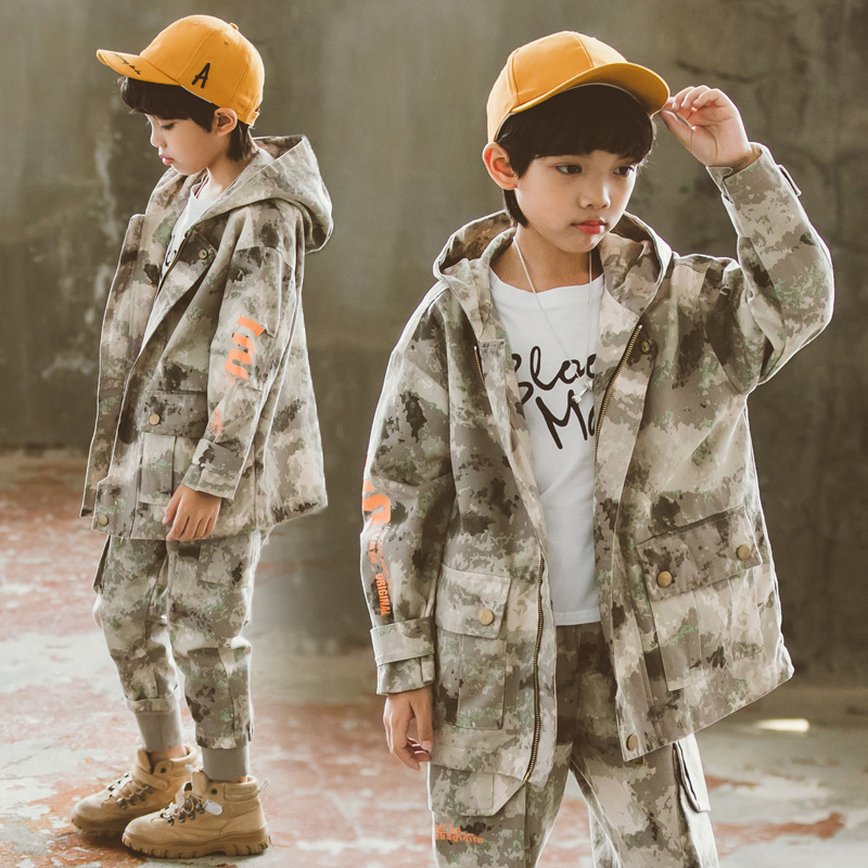 Teenage Boys Clothing Sets 2020 Spring Letter Camo Jacket Pants Sprot Suit For Boys Clothes Fashion Kids Costume 10 12 Years