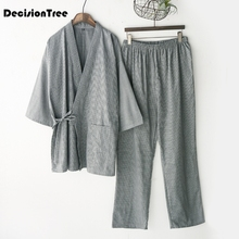 men pajamas sets print kimono suit soft homewear Three Quarter Sleeve tops& pants japanese style men sleepwear sets plus