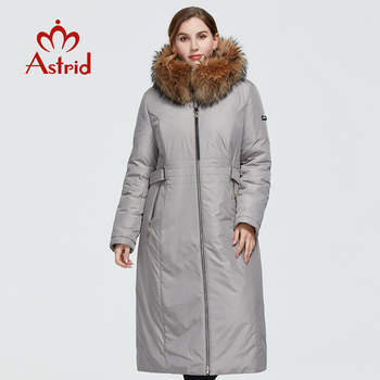 Astrid 2020 delle Nuove donne di Inverno cappotto lungo delle donne caldo parka Giacca moda con cappuccio di pelliccia di procione di grandi dimensioni femminile abbigliamento 3570 1