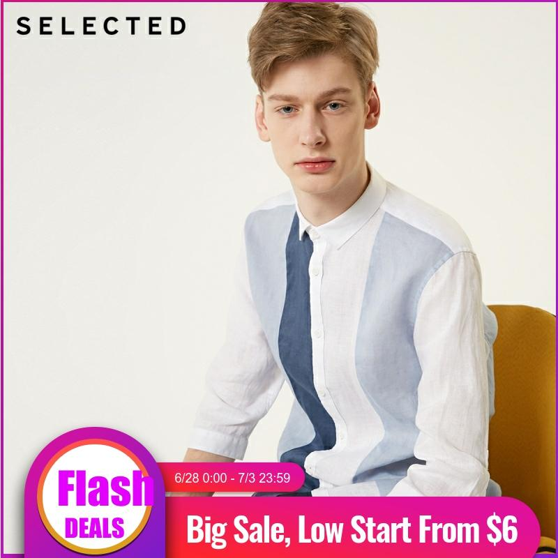 SELECTED Men's Linen Striped Assorted Colors Business Casual 3/4 Sleeves Shirt S|419231506
