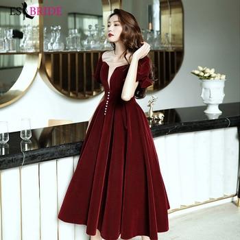Burgundy Prom Dresses ES3186 Patchwork Square Collar Women Party Gowns Short Sleeves Elegant Vestidos Tea-Length Formal Dress