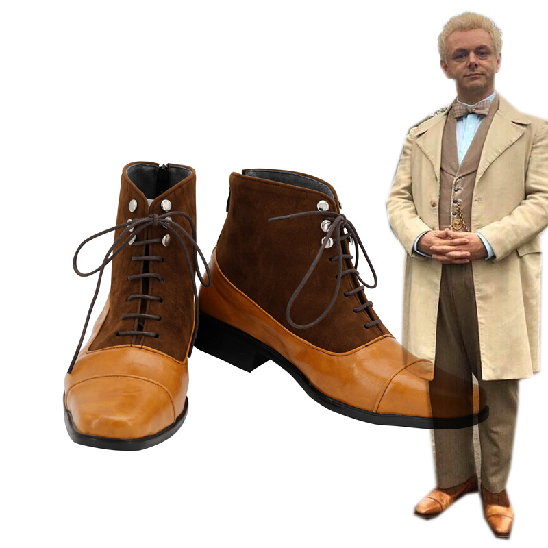Good Omens Aziraphale Cosplay Shoes Angel Aziraphale Boots Shoes Custom Made European Size