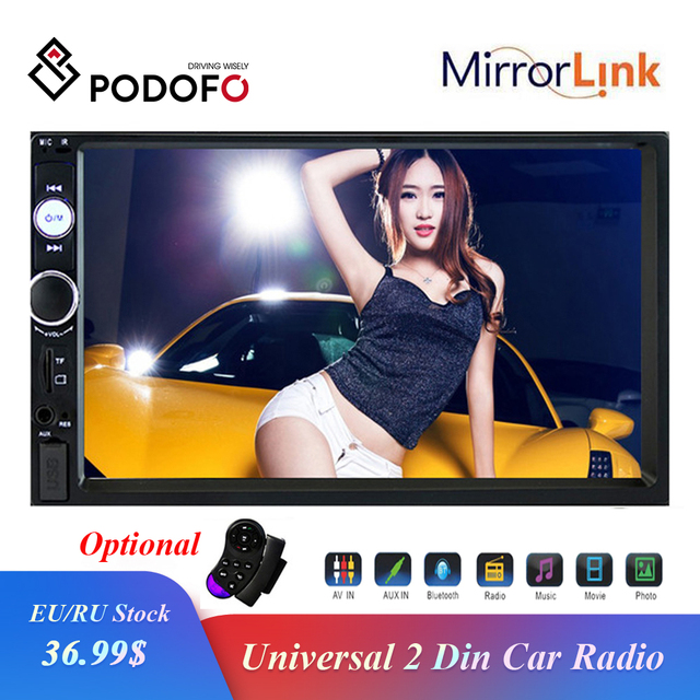 """Podofo autorradio 2 din con pantalla táctil HD de 7 """", función Mirrorlink, Bluetooth, reproductor Multimedia MP5 estéreo, cámara de visión trasera"""