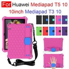 Для Huawei Mediapad T3 10 Mediapad T5 10 шт. EVA детские безопасный противоударный чехол ручной плечевой ремень подставка чехол для планшета