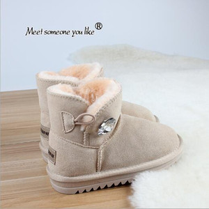 Genuine Leather Children's Snow Boots Boys' Plush Non Slip Cotton ShoesGirl Thickened Children's Boots Winter W arm Baby Shoes