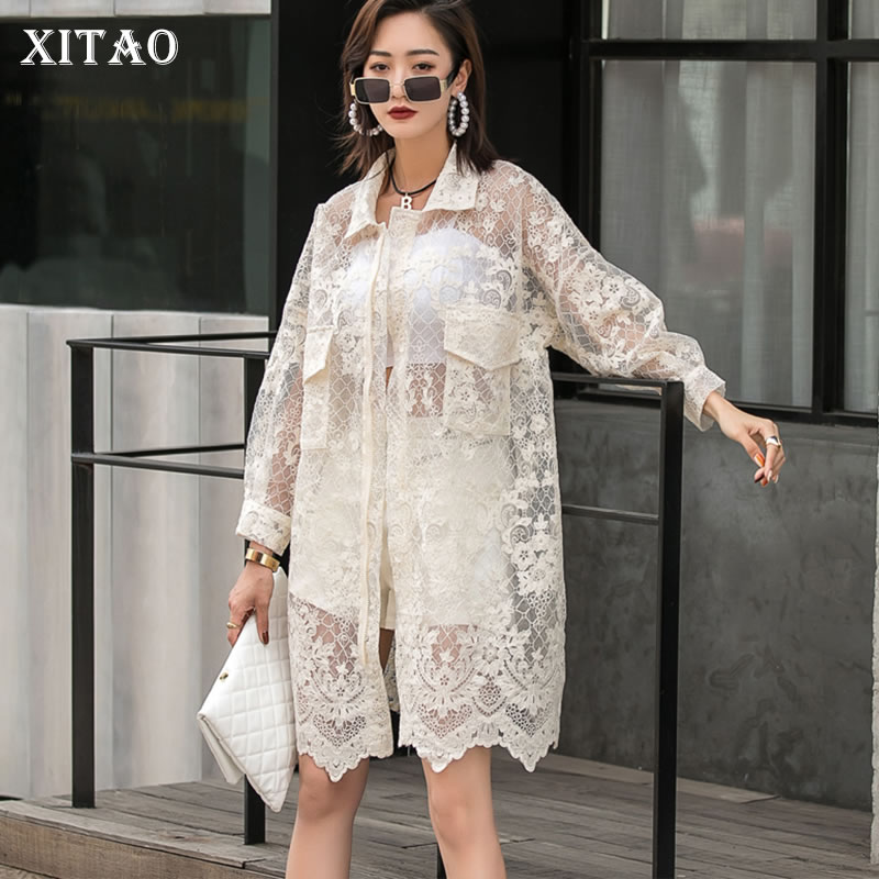 XITAO Perspective Blouse Fashion New Women Full Sleeve Ruffle Hollow Out Small Fresh Casual Style Loose 2021 Summer  LDD1324