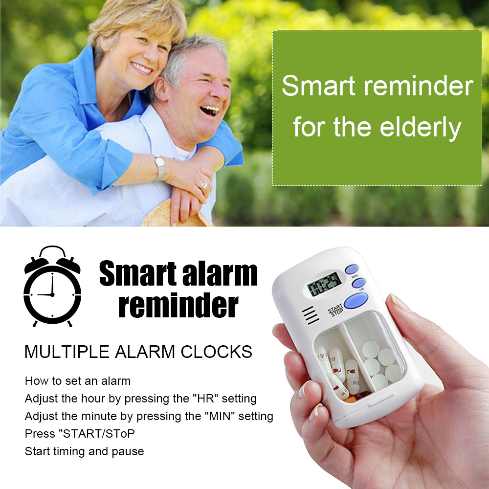 2 Grid Electronic Timing Kit Portable Intelligent Reminder Timer For The Elderly Pill Box Daily Storage Case