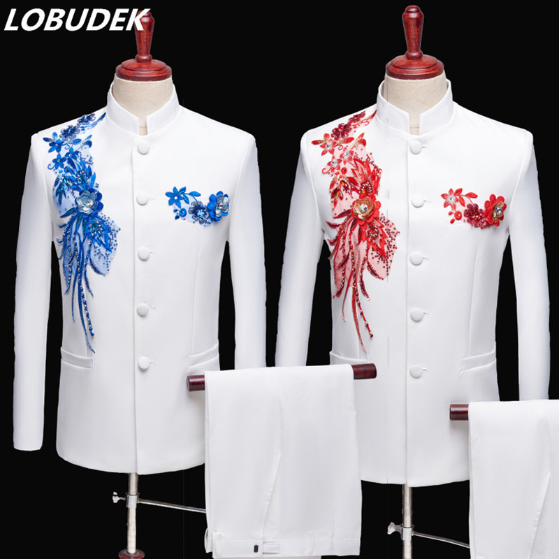 Applique Embroidered Blazers Stand Collar Men's Suit Chinese Tunic Suit Male Singer Performance Stage Wear (Jacket+Pants) S-3XL