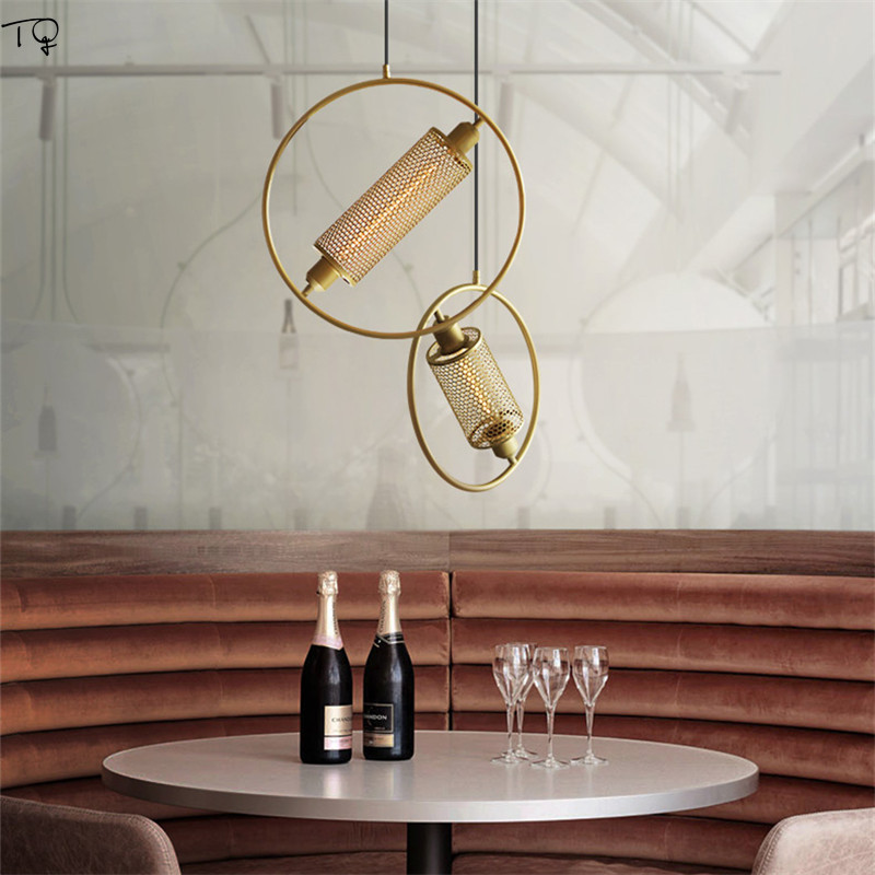 Vintage Retro Industrial Lamp Black Gold Hollow Out Iron Net Hanging Lamp Led Star Living Room Bedside Cafe Restaurant Hotel Bar