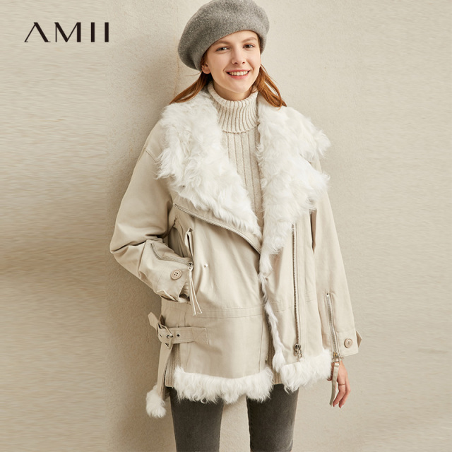 Amii Minimalist Wool Fur Coat Winter Women Lapel Zipper Solid Female Thick Jackets 11920269