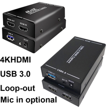 4K HDMI To USB 3.0 Video Capture Card 1080P HDMI Video Recording Box for PS4 OBS Game Live Streaming Broadcast Mic In Loop Out