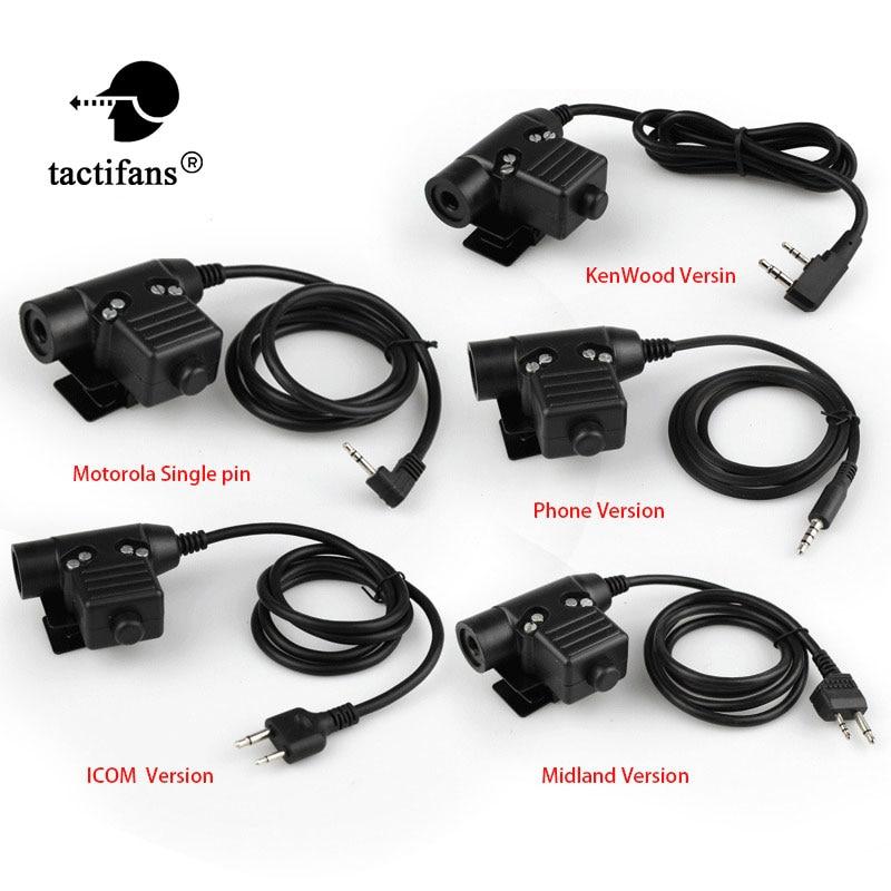 Mini Phone/TCI/ U94 Tactical PTT KENWOOD/Motorolar Single-Way/Midland/ICOM For RAC /TMC /COMTAC/MSA/EARMOR/TCA/TRI Headset
