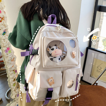 Diehe Muti-Pocket Women Backpack Nylon School Bag Backpacks for Teenage Girls Fashion College Student Back Pack Mochila Feminina 1