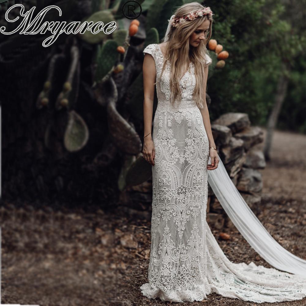 Mryarce Unique Bride Vintage Crochet Lace Boho Wedding Dress Cap Sleeves Open Back Bohemian Bridal Gowns