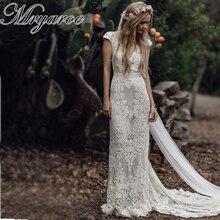 Mryarce unikatowa panna młoda w stylu Vintage szydełkowa koronkowa sukienka Boho weselny rękawy Cap bez pleców czeskie suknie ślubne