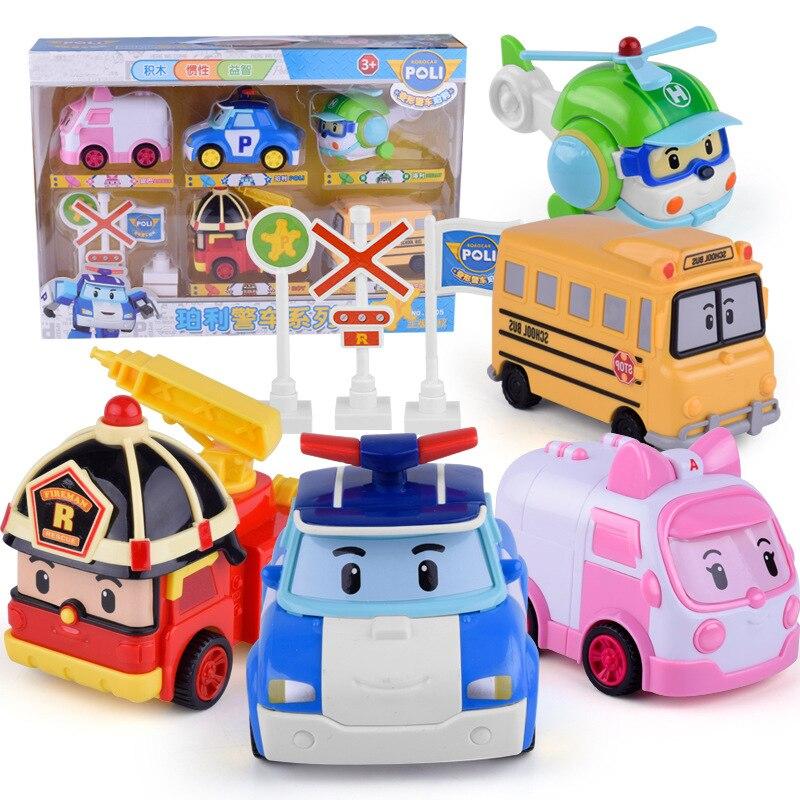 New Kids Toys Robocar Poli Action Figures Kids Toys Robot Poli Inertial Car Anime Action Figure Car Toys For Children Gift