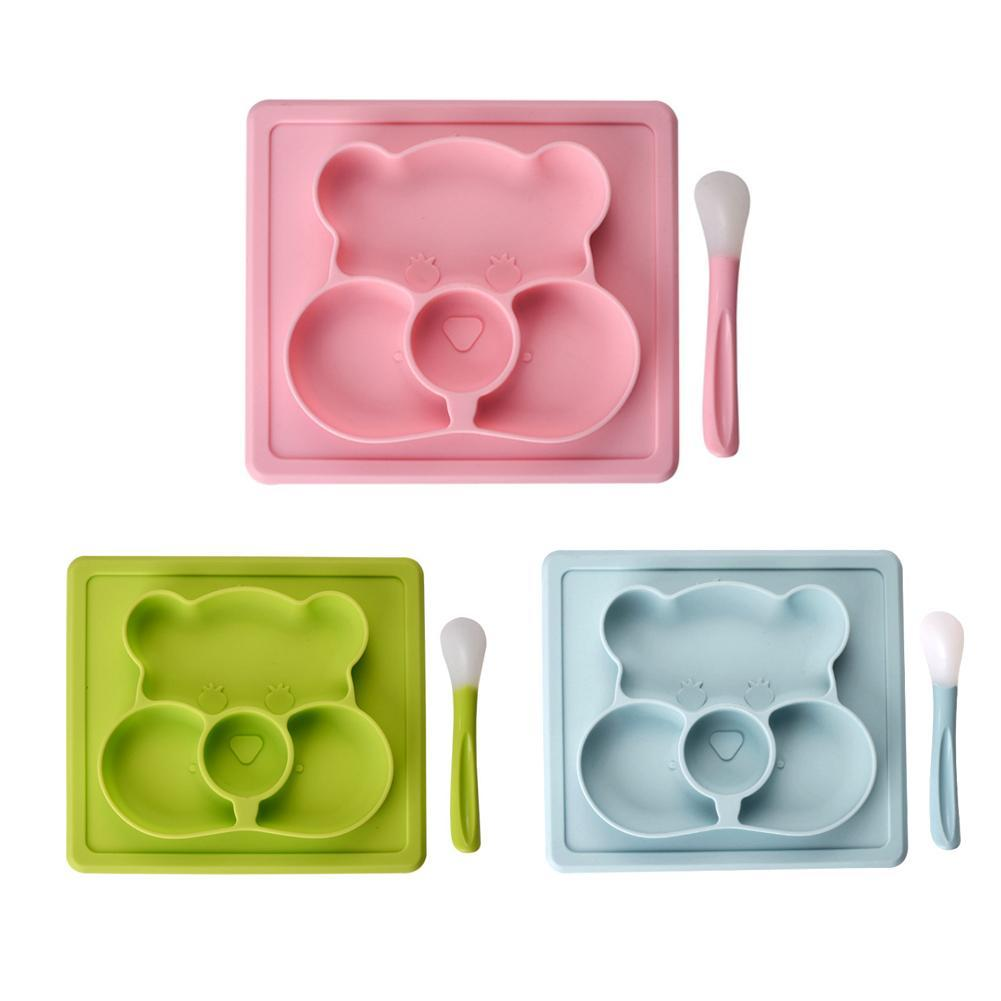 Cute Bear Bamboo Bowl Dish Feeding Silicone Mat Baby Kids Child Toddler Suction Table Food Lunch Tray Plate Spoon Set Tableware