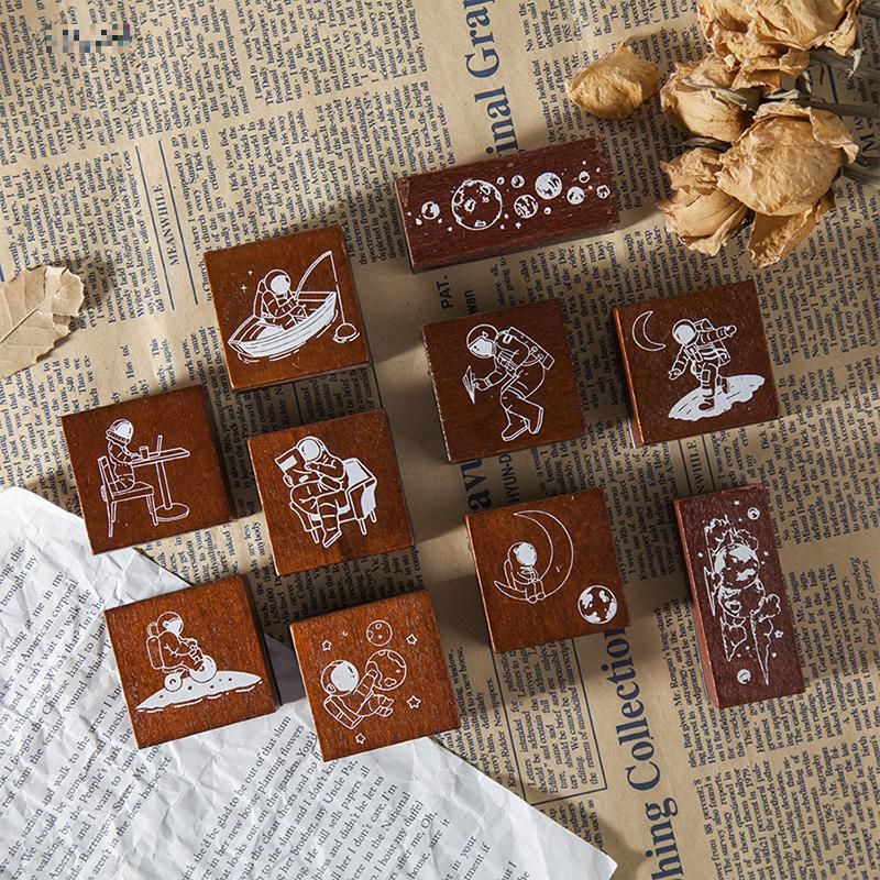 Vintage Universe Outer Space Travel Series Stamp DIY Wooden Rubber Stamps For Stationery Scrapbooking Standard Stamp