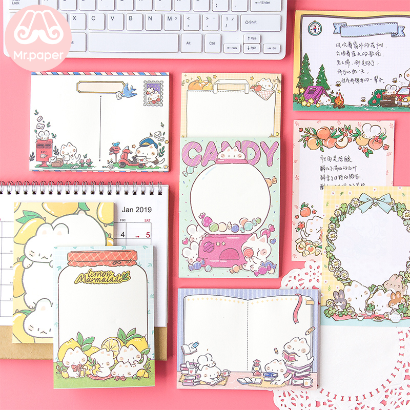 Mr Paper 50pcs/lot 9 Designs Cute Cartoon Candy Lemon Kitty Loose Leaf Memo Pads Write Points  Down Kawaii Memo Pads Child Gifts