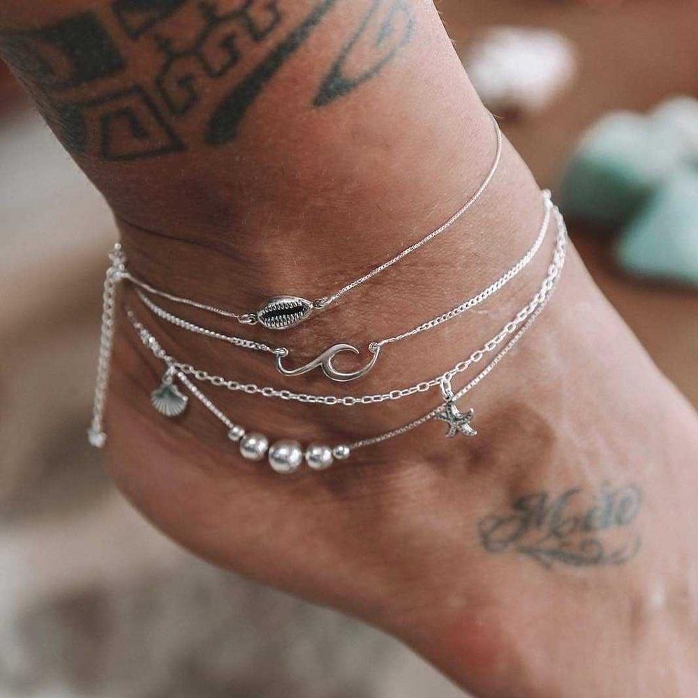 Bohemian Starfish Stone Anklets Set For Women Vintage Handmade Wave Anklet Bracelet on Leg Beach Ocean Jewelry 2018 New 4Pcs/Set